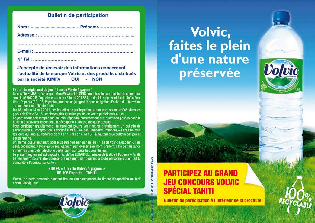 Kimfa Tahiti » Grand jeu concours: « 1 an de Volvic à gagner